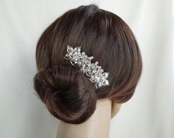 Wedding Hair Comb,Bridal Wedding Hair Comb,Pearl Bridal Hair Comb,Bridal Rhinestone Hair Comb,Pearl,Vintage Wedding Jewelry,Floral,,ASTER