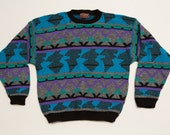 Purple & Teal High Sierra Ugly Sweater, Geometric Design, Vintage 90s