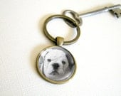 Custom Photo Keychain  -  antique brass key ring for Mommy Daddy Grandma or Grandpa with Your Picture