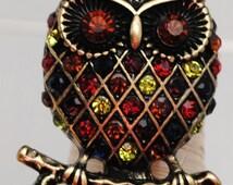 Owl Statement Ring/Gift/Unisex/Autumn Colors/Fall Jewelry/Rhinestone/Under 15 USD/Adjustable