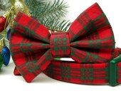 Red and Green Christmas Plaid Bow Tie Dog Collar