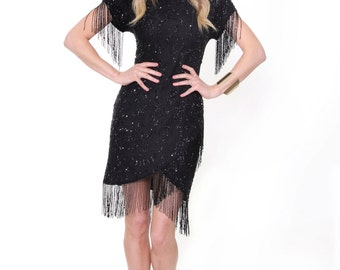 Neola, Vintage, Black Beaded and Sequin Fringe Mini Dress, from Paris