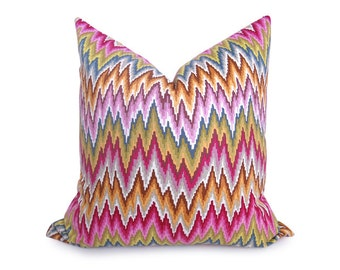 Flamestitch Chevron Pillow Cover - Blue - Pink - Green - Purple - Gold - Flamestitch Pillow - Throw Pillow - Decorative Pillow - Designer