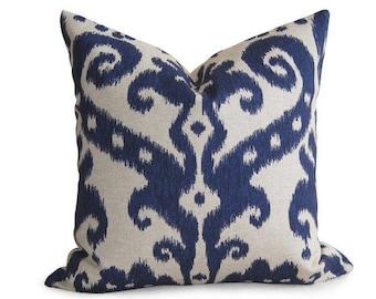 Decorative Designer Ikat Pillow Cover - Navy Blue - 18 inch - IKAT - Linen Pillow - Toss Pillow - Accent Pillow - Throw Pillow