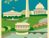 Washington DC skyline art print, dc map, dc wall art, dc artwork, DC print, dc nursery print, Loose Petals DC print style E8-O-DC1