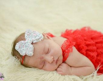 Christmas Headbands for Newborns/Infant Headbands/Baby Headbands/Baby Girl Headbands/Polka Dot Bow on Thin Headband/Shabby Bow Headband