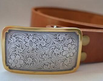 Engraved Trophy  Belt Buckle for  Snap Belts