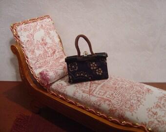 Dollhouse handbag purse miniature black tan floral 1:12 scale full scale