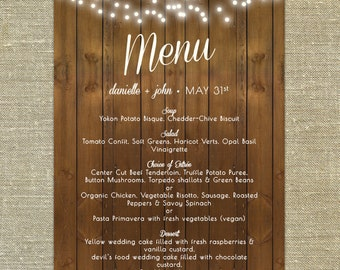 "Barn Elegance Wedding Menu; 5x7"" customizable with your wedding colors"