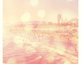 photography, California beach art, pink home decor, Santa Monica print, summer vacation, seashore, Los Angeles seaside, crowded beach print