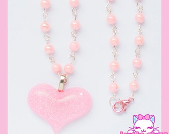 Pink Heart & Pearl Necklace