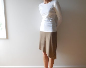 TShirt Skirt Womens Skirt Women's Brown T Shirt Skirt Asymmetrical Recycled Upcycled Straight Cotton Handmade Fashion Spring Summer ohzie