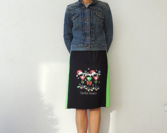 Tis The Season T Shirt Skirt Womens Skirt Green Black Recycled Upcycled Christmas Straight Cotton Skirt Fashion Soft Fun Winter ohzie