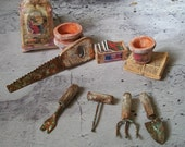 Shabby Chic Garden Yard Tools, Saw, Spade, Handrake,etc. 1:12 Miniature Dollhouse Scale