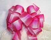 Pink Ombre Satin Bow Wired Ribbon Handmade Wreath Summer Birthday Baby Girl Decoration Gift Wedding Pew Bow Hot Pink White