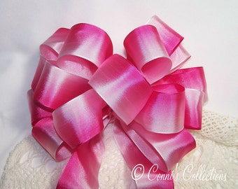 Pink Ombre Bow Wired Ribbon Handmade Wreath Summer Birthday Baby Girl Valentines Day Gift Wedding Pew Bow Hot Pink White