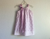 Girls Lavender Pillowcase Dress - White Quatrefoil Print on Lavender - Little Girls Clothing - Size 12m, 18m, 2T, 3T, 4T or 5