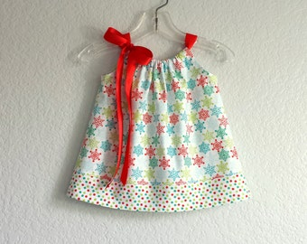 NEW!  Infant Dress and Bloomers Outfit - White with Colorful Snowflakes and Polka Dots - Baby Girl Dress -  Size Nb, 3m, 6m, 9m, 12m or 18m