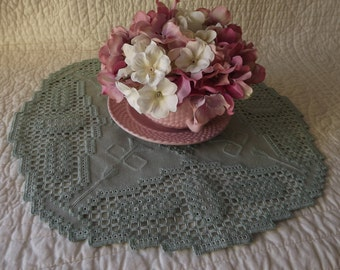 Hardanger Embroidery Doily Centerpiece - Green on Green with Cut Out Detail