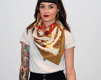 vintage plaid scarf with beige border