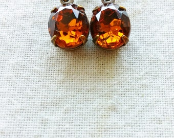 Vintage Russet Colored Rhinestone Earrings