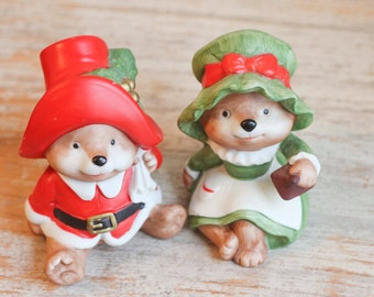 Vintage Christmas Bears, Mr and Mrs Clause,  Homco Christmas,  Porcelain Figurine, Christmas Decor, Xmas Decoration, Stocking Stuffer