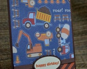 "Happy Birthday card for boys - ""dirtday"" boy construction trucks"