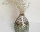 Vintage glazed vase / pottery clay ceramic /  textured vesse l multicolor brown blue grey gray