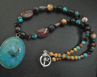 OOAK turquoise blue necklace   teal necklace   beaded Boho tribal statement boheminan   semiprecious stone   artisan necklace   blue boho