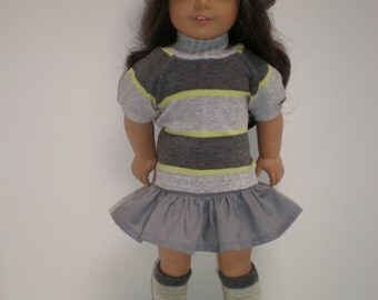 GRAY RUFFLED SKIRT 18 inch doll clothes