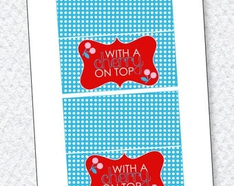 Cherry Party PRINTABLE Fold Over Tags (INSTANT DOWNLOAD) by Love The Day