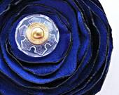 Sapphire Flower Hair Clip Brooch Pin, Blue Gold Snowflake Bloom