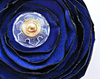 Sapphire Flower Hair Clip Brooch Pin, Blue Gold Snowflake Bloom