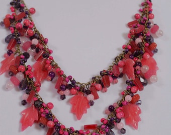 Pink and purple marble leaves multi-strand necklace