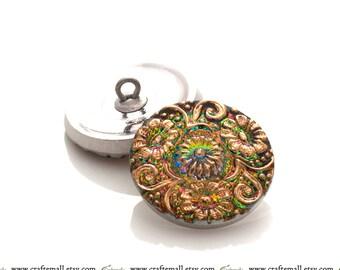 Handmade Czech glass button - 23mm pink, green, and gold flower button - IG427/10