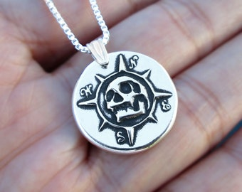 Pirate Compass pendant necklace Sterling Silver jewelry Skull necklace Silver necklace Skull jewelry Memento mori for men & women N-159
