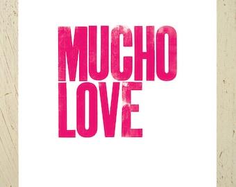 Mucho Love typographic art print - pink