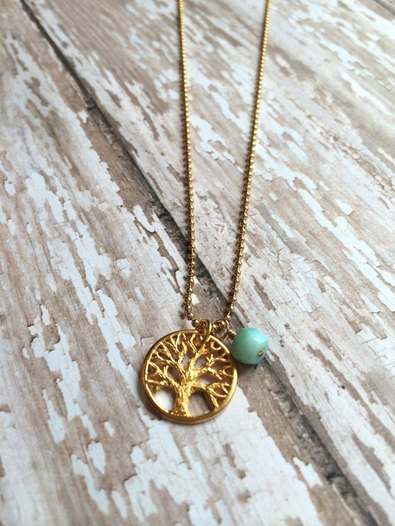 Gold Tree of Life and Peruvian Opal Necklace, Mother's Necklace