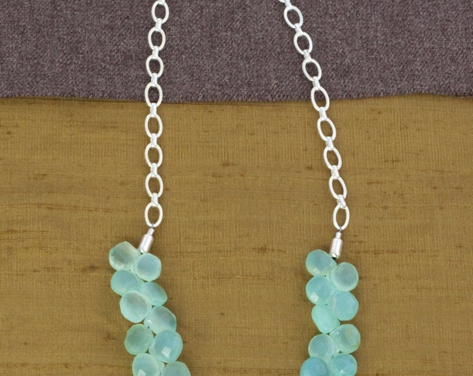 "Aqua Chalcedony Bib Necklace--16""-18"" in Length on Silver"