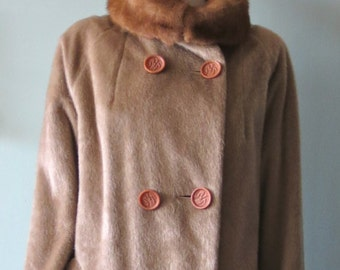 Classic Vintage 1950s Faux Seal Coat with Mink collar