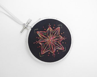 "HALF OFF SALE -  Black and Metallic Rainbow Handmade Snowflake Embroidery Hoop Christmas Holiday Ornament or Winter Decoration 3"" Hoop"