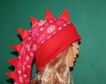 Dragon Tail Hat  Red Flowers Winter Snow Fleece Ski Snowboarding Hat