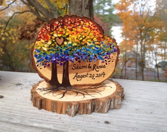 Rustic Same Sex Wedding Cake Topper, Live Edge Branch Slices, Rainbow Trees, Personalized