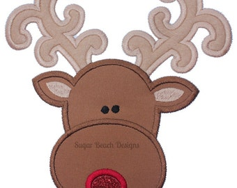 Reindeer Applique - Machine Embroidery Design file  (099)