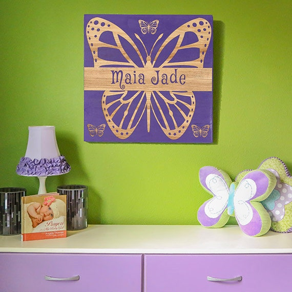 Name In Lights Wall Decor : Personalized Baby Girl Wall Art- Butterfly Wall Decor-Newborn Gift-Butterfly Wall Art-Nursery ...