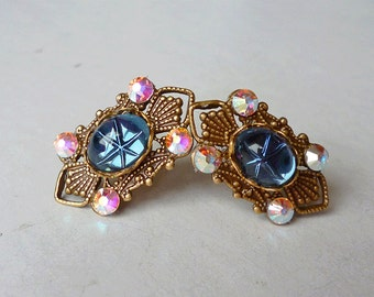 Blue Star Studs // Vintage 1950s Blue Star Sapphire Glass Gem Earrings,  Filigree AB Swarovski Crystals Bohemian Gypsy Bridal Art Deco Gypsy