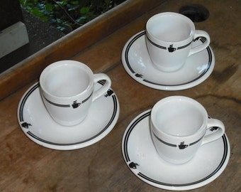 Clearance Vintage Set of 3 Cups Saucers Demi Tasse Over and Back White and Black Coffee Design Retro Dining Serving Dish Home Decor Kitchen