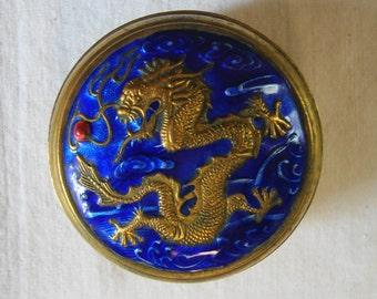 VINTAGE Antique BRASS ENAMEL Dragon Snuff Box Covered Dish Cobalt Enamel Gold Brass Dragon Figure Covered Snuff Box Keep Sale Box