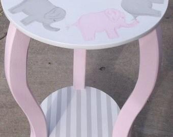 Pink and Grey, Elephants Nursery, Table Elephants Custom Round Night stand End Table Nursery Table Baby Bedding