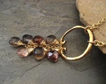 Cascading necklace, tourmaline necklace, waterfall necklace, pendant briolette, circle pendant, smoky quartz,  topaz cz